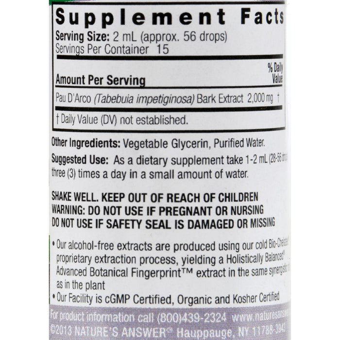 Nature's Answer Pau D'arco Inner Bark Alcohol Free - 1 Fl Oz