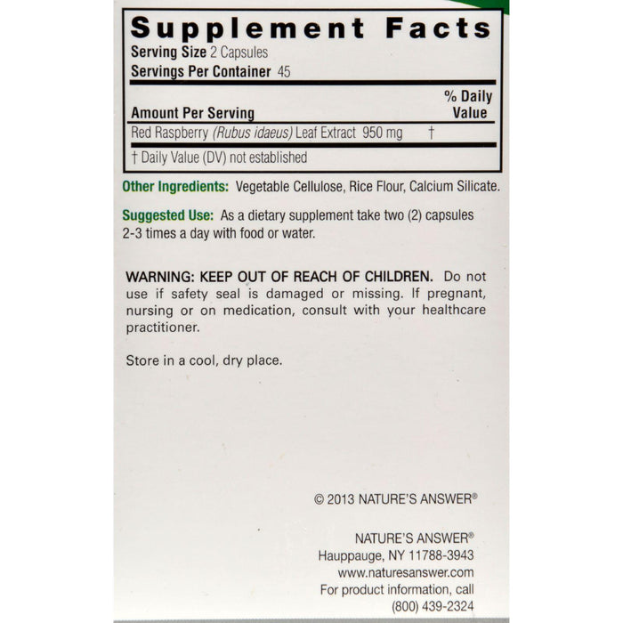 Nature's Answer Red Raspberry Leaf - 90 Capsules