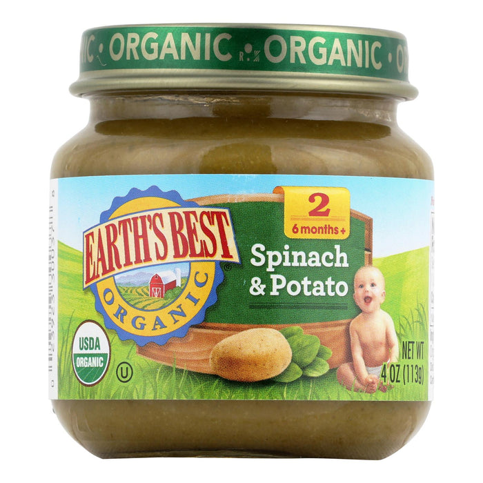 Earth's Best Organic Spinach And Potato Baby Food - Stage 2 - Case Of 12 - 4 Oz.