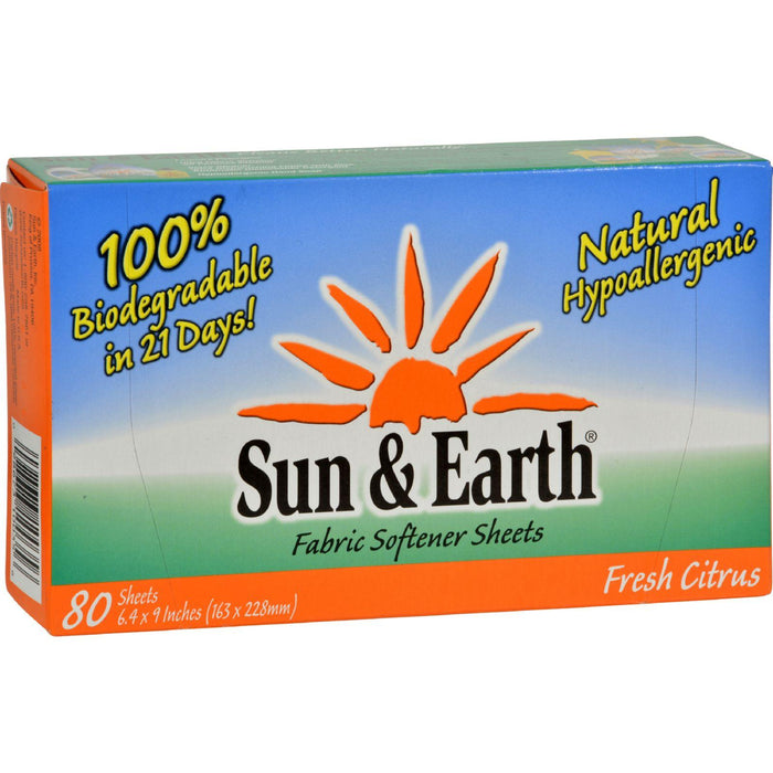 Sun And Earth Natural Fabric Softener Sheets - Light Citrus - 80 Sheets - Case Of 6
