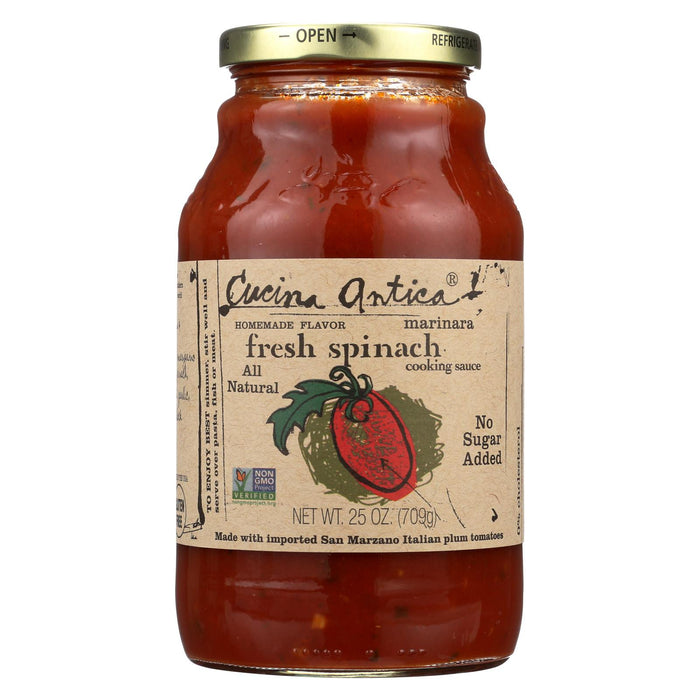 Cucina Antica Fresh Spinach Marinara Cooking Sauce - Case Of 12 - 25 Oz.