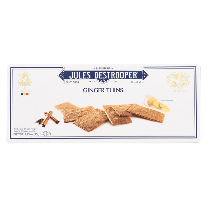 Jules Destrooper Cookies - Ginger Thins - Case Of 12 - 3.35 Oz.