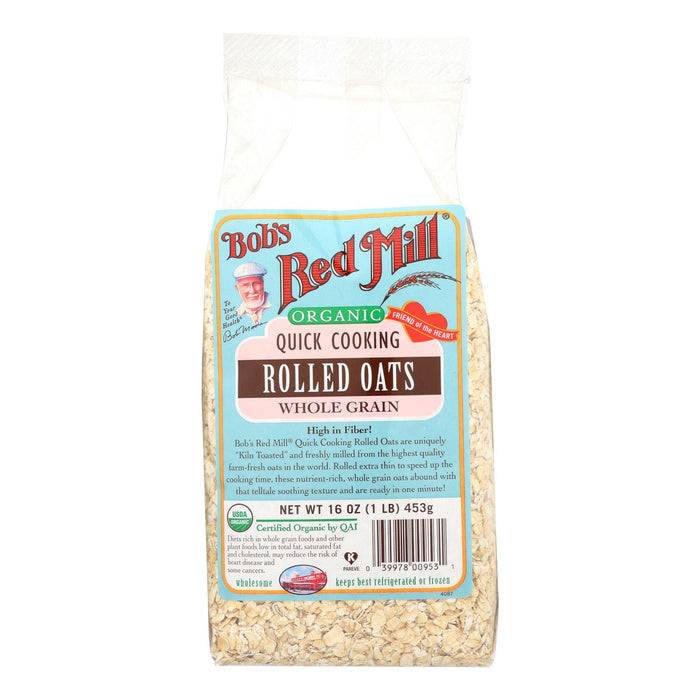 Bob's Red Mill Organic Quick Cooking Rolled Oats - 16 Oz - Case Of 4
