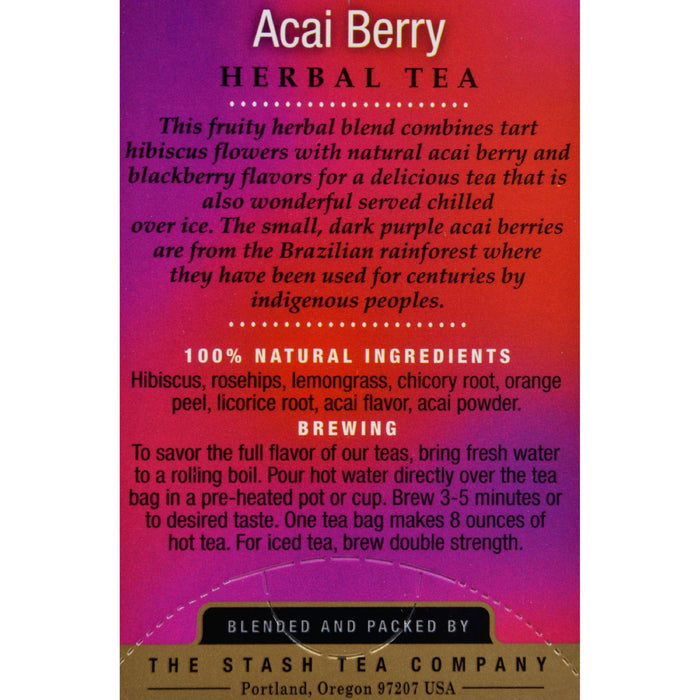 Stash Premium Caffeine Free Acai Berry Herbal Tea - 18 Tea Bags - Case Of 6