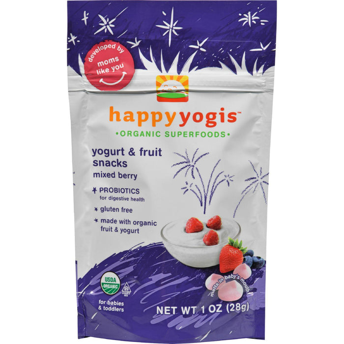 Happy Baby Happy Yogis Organic Superfoods Yogurt And Fruit Snacks, Mixed Berry - 1 Oz - Case Of 8