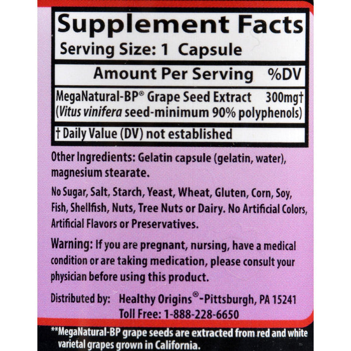 Healthy Origins Mega Natural-bp Grape Seed Extract - 300 Mg - 60 Capsules