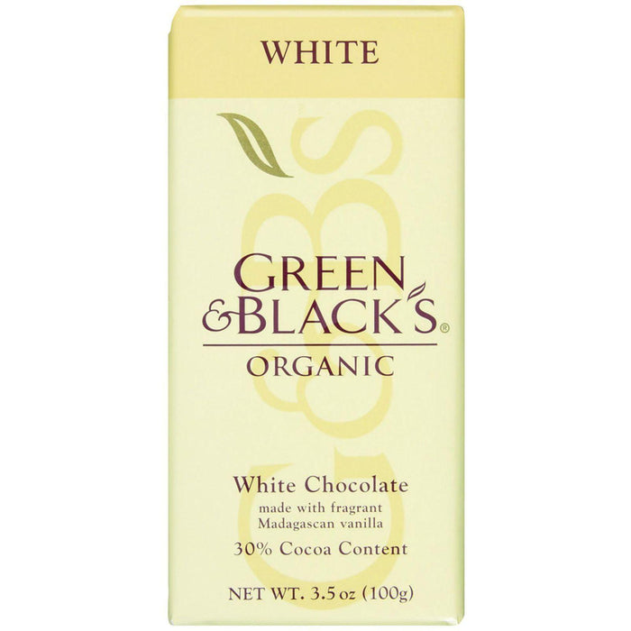 Green And Black's Organic Chocolate Bars - White Chocolate - 30 Percent Cacao - 3.5 Oz Bars - Case Of 10
