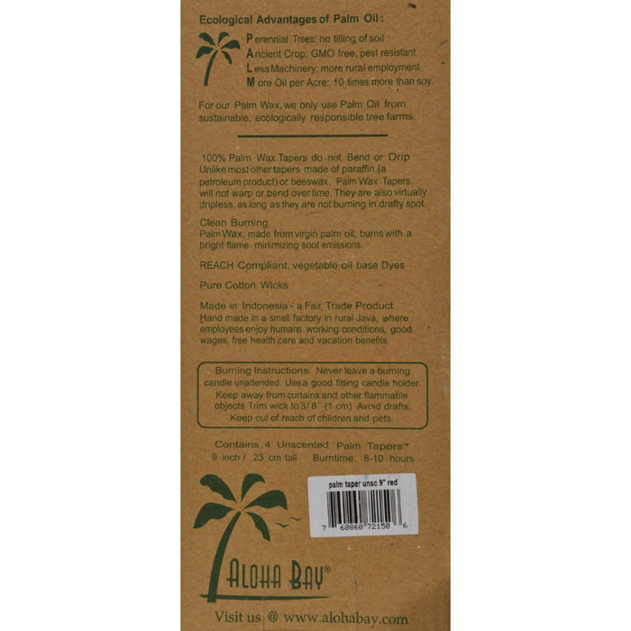 Aloha Bay Palm Tapers Red - 4 Candles