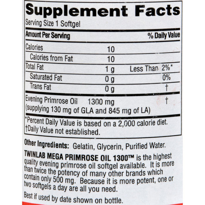 Twinlab Mega Primrose Oil - 1300 Mg - 60 Softgels