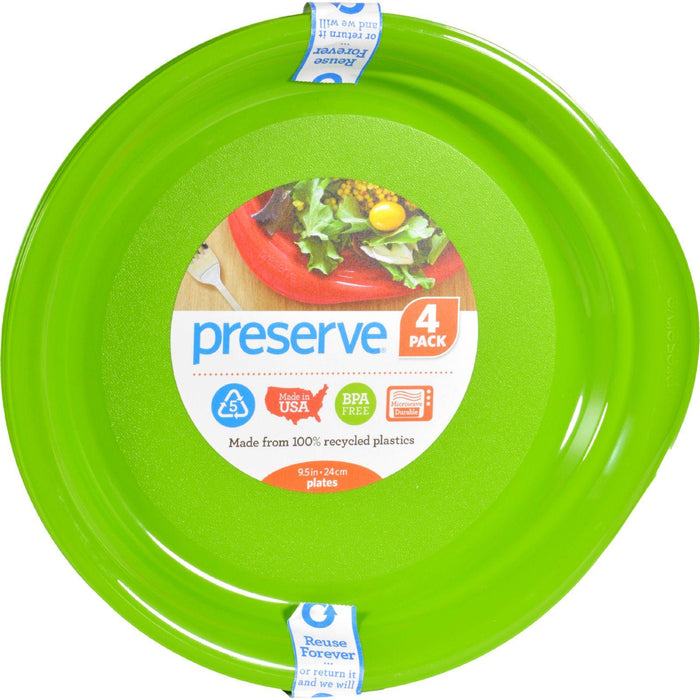 Preserve Everyday Plates - Apple Green - Case Of 8 - 4 Pack - 9.5 In