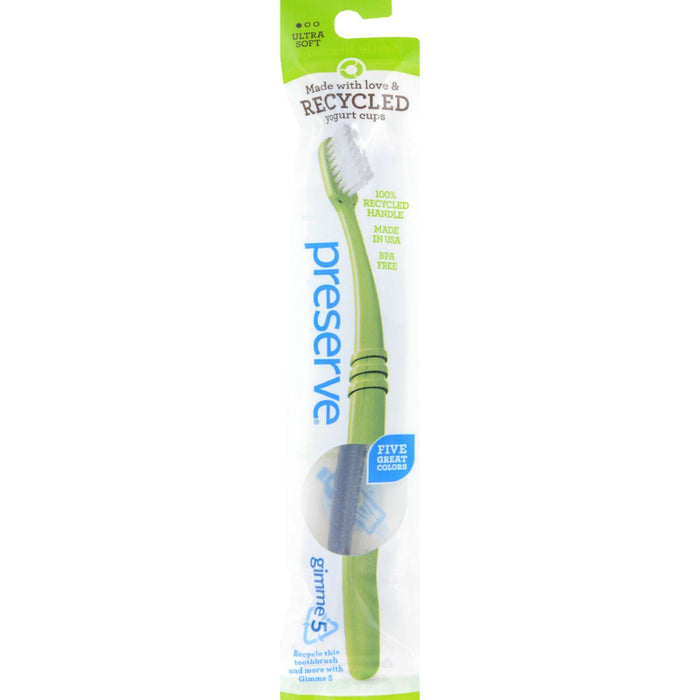Preserve Adult Toothbrush In A Lightweight Pouch, Ultra Soft- 6 Pack - Assorted Colors