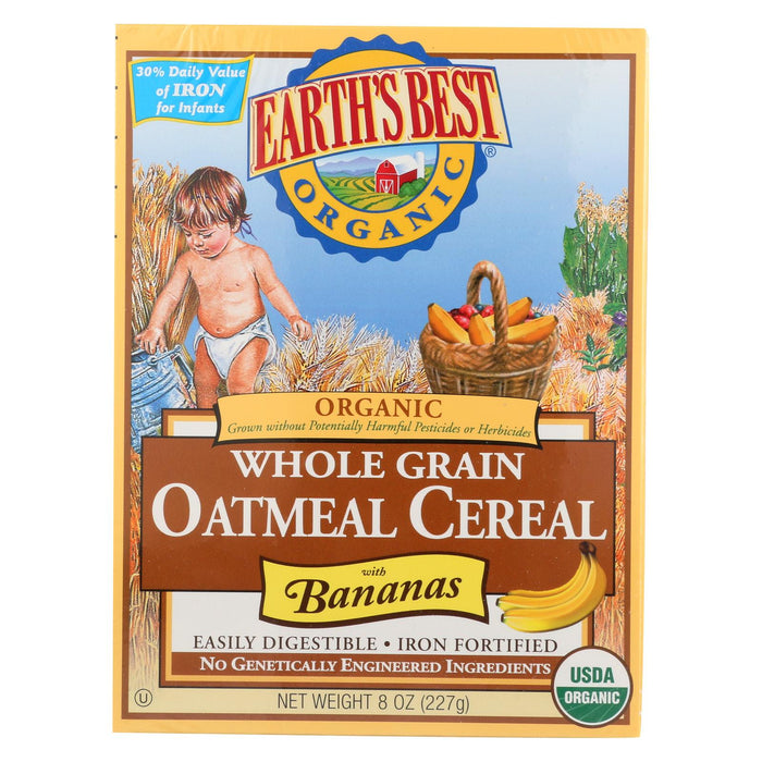 Earth's Best Organic Whole Grain Banana Oatmeal Infant Cereal - Case Of 12 - 8 Oz.