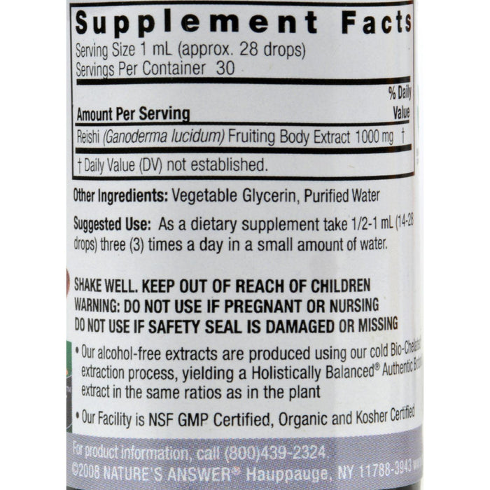 Nature's Answer Reishi Fruiting Body Alcohol Free - 1 Fl Oz