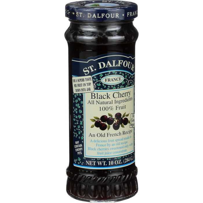 St Dalfour Fruit Spread - Deluxe - 100 Percent Fruit - Black Cherry - 10 Oz - Case Of 6