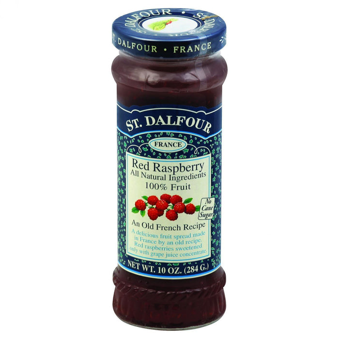 St Dalfour Fruit Spread - Deluxe - 100 Percent Fruit - Red Raspberry - 10 Oz - Case Of 6