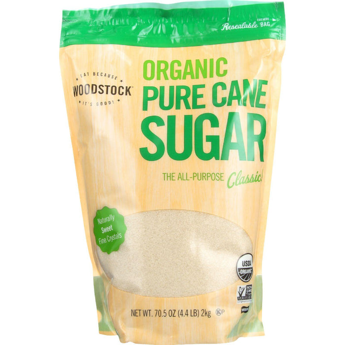 Woodstock Sugar - Organic - Pure Cane - Granulated - 4.4 Lb - Case Of 5