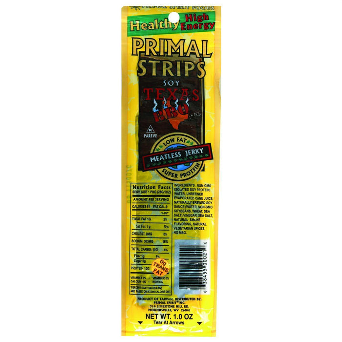 Primal Strips Vegan Jerky - Meatless - Soy - Texas Bbq - 1 Oz - Case Of 24