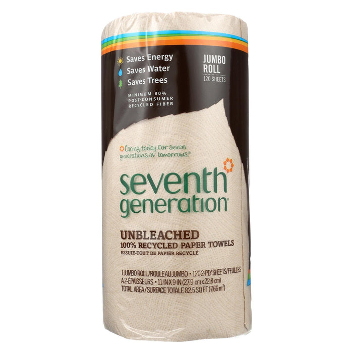 Seventh Generation Recycled Paper Towels - Unbleached - Case Of 30 - 120 Count
