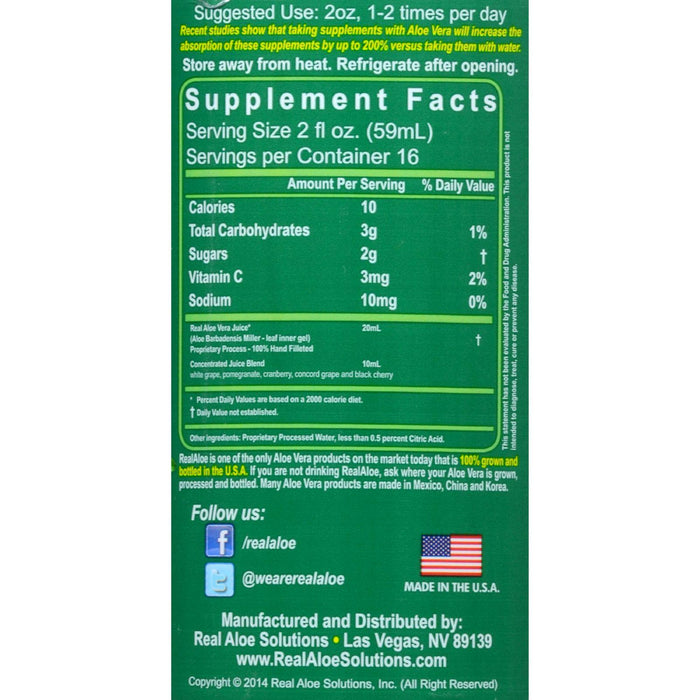 Real Aloe Aloe Vera Super Juice - 32 Fl Oz