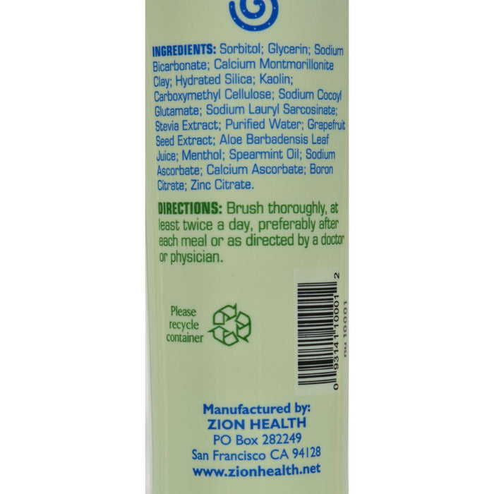 Zion Health Claybrite Natural Toothpaste - Natural Mint - 3.2 Oz