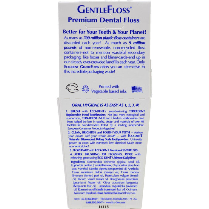 Eco-dent Gentlefloss Premium Dental Floss Mint - 100 Yards - Case Of 6