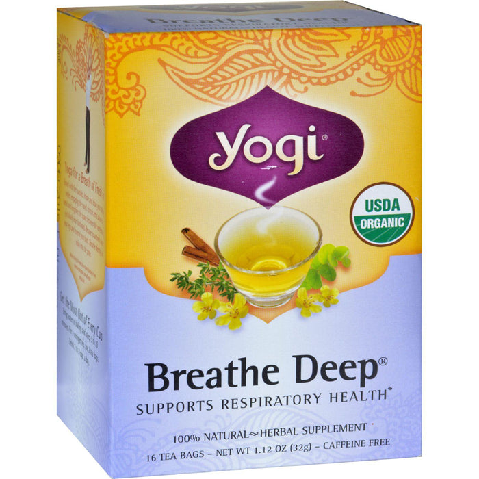 Yogi Organic Breathe Deep Herbal Tea Caffeine Free - 16 Tea Bags - Case Of 6