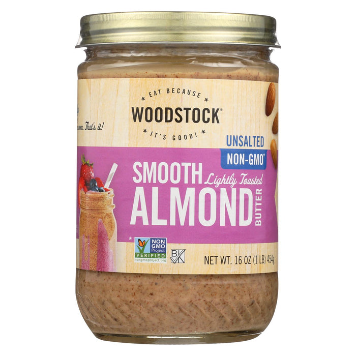 Woodstock Natural Almond Butter - Case Of 12 - 16 Oz.