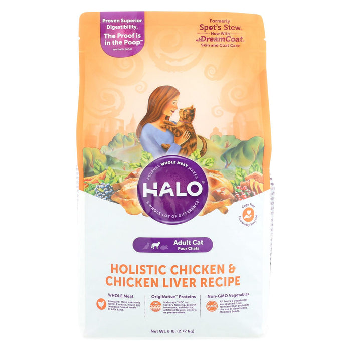 Halo Purely For Pets Holistic - Cat - Chicken And Chicken Liver Recipe - Case Of 4 - 6 Lb.