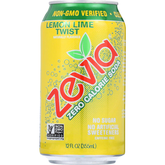 Zevia Soda - Zero Calorie - Lemon Lime Twist - Can - 6-12 Oz - Case Of 4