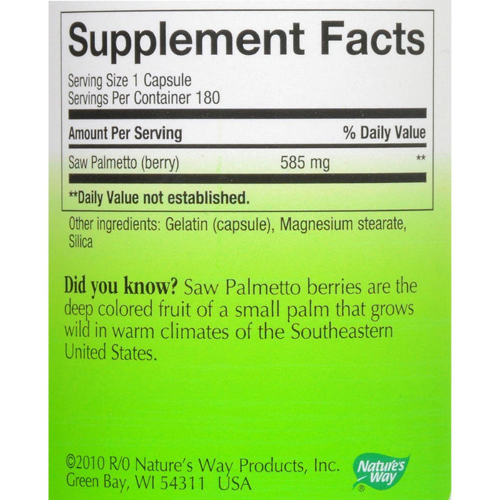 Nature's Way Saw Palmetto Berries - 180 Capsules