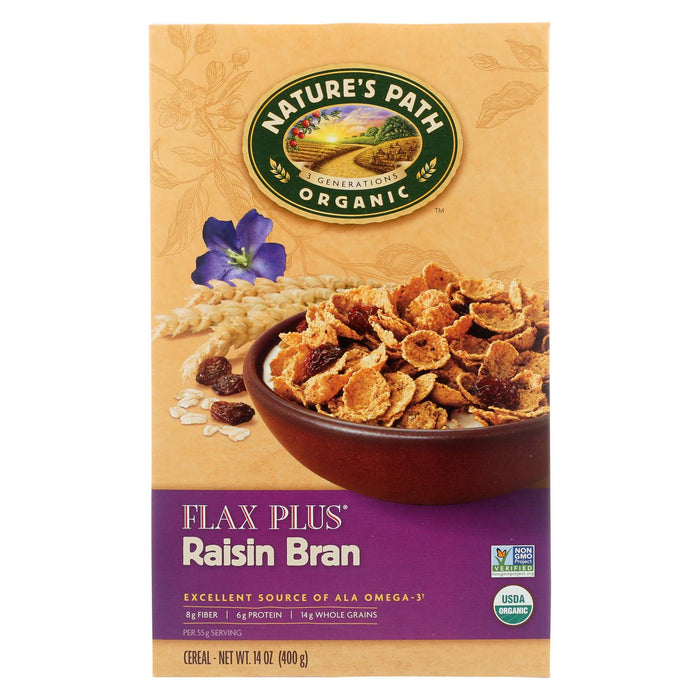 Nature's Path Organic Flax Plus Raisin Bran Cereal - Case Of 12 - 14 Oz.
