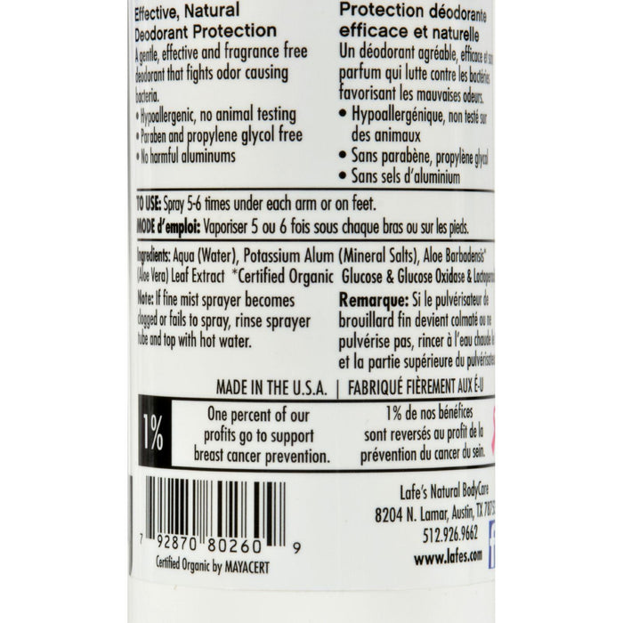 Lafe's Natural And Organic Deodorant Spray - 8 Fl Oz
