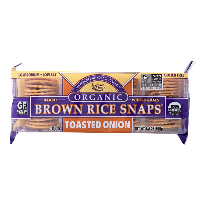 Edward And Sons Brown Rice Snaps - Toasted Onion - Case Of 12 - 3.5 Oz.