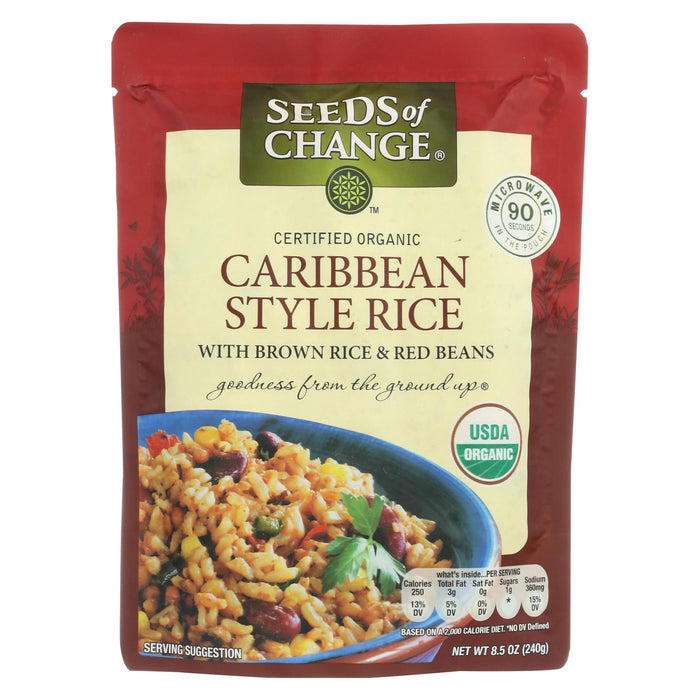 Seeds Of Change Organic Microwavable Caribbean Style Rice W Brown Rice And Red Beans - Case Of 12 - 8.5 Oz.