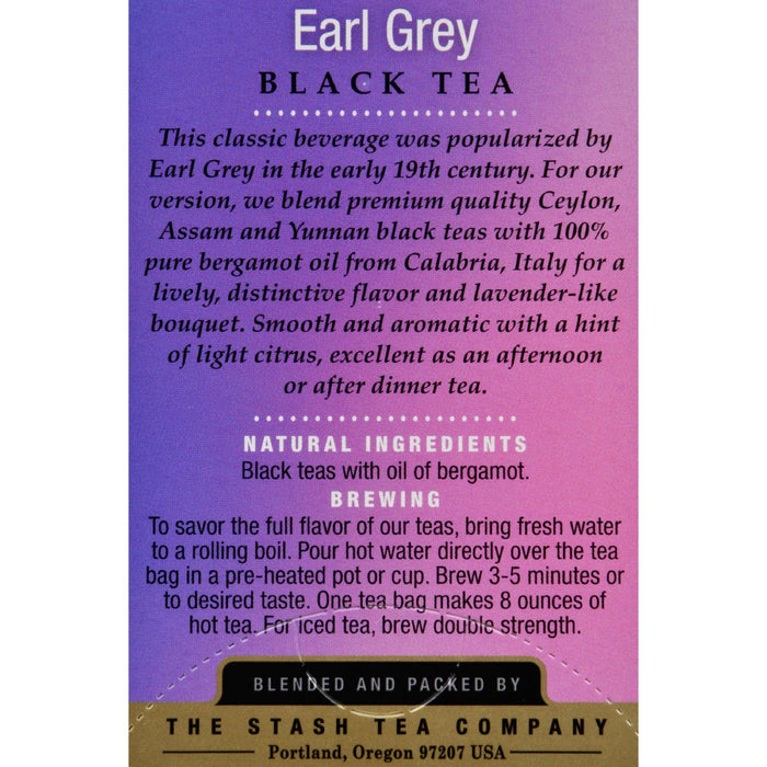 Stash Tea Earl Grey - 20 Tea Bags - Case Of 6