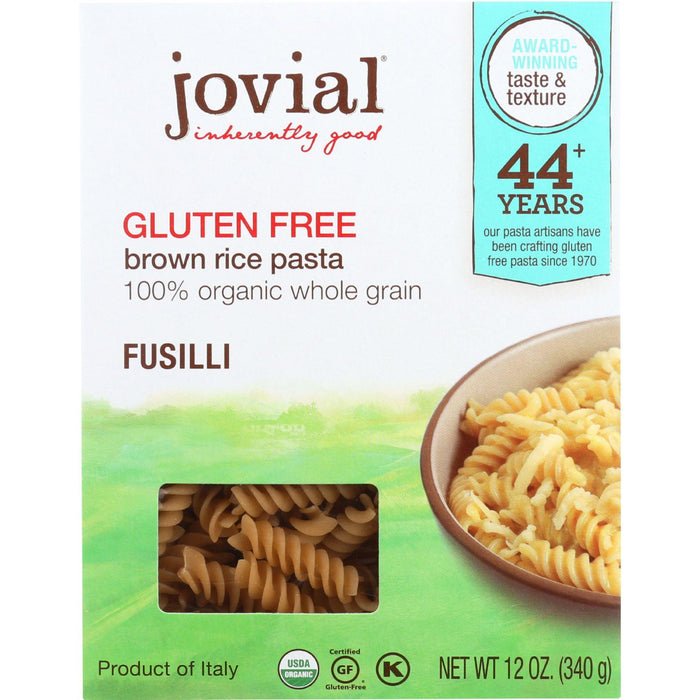 Jovial Pasta - Organic - Brown Rice - Fusilli - 12 Oz - Case Of 12