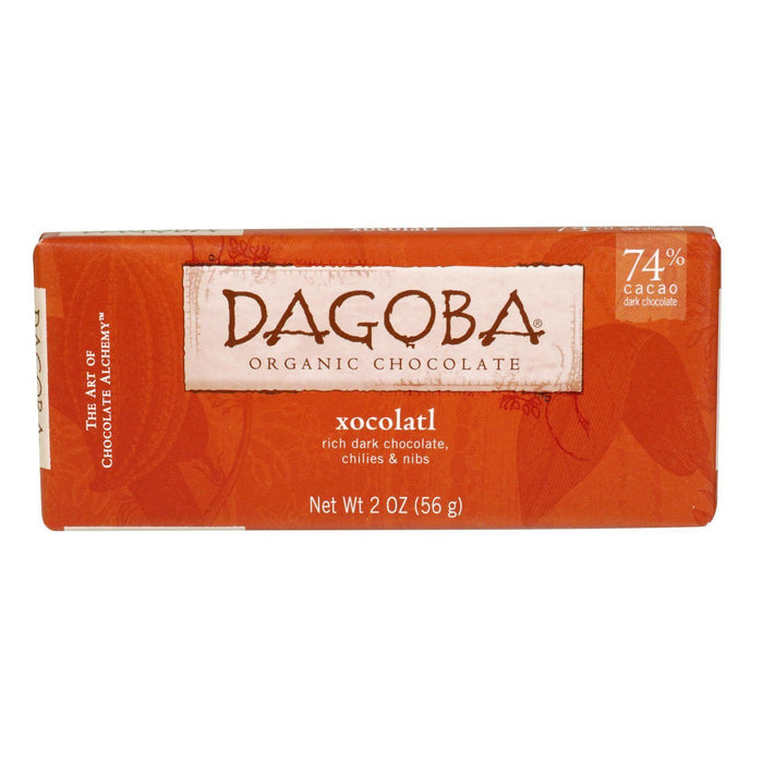 Dagoba Organic Chocolate Bar - Dark Chocolate - 74 Percent Cacao - Xocolatl - 2 Oz Bars - Case Of 12