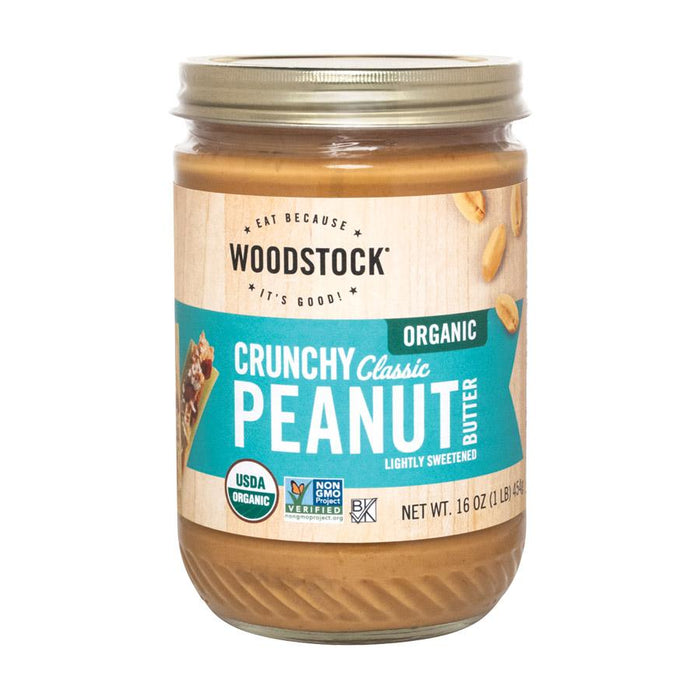 Woodstock Organic Classic Peanut Butter- Crunchy - Case Of 12 - 16 Oz.