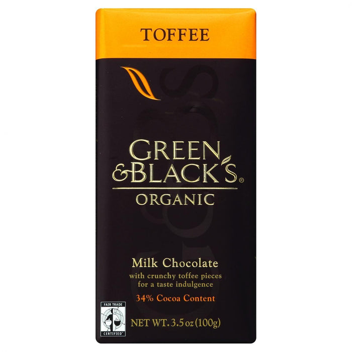 Green And Black's Organic Chocolate Bars - Milk Chocolate - 34 Percent Cacao - Toffee - 3.5 Oz Bars - Case Of 10