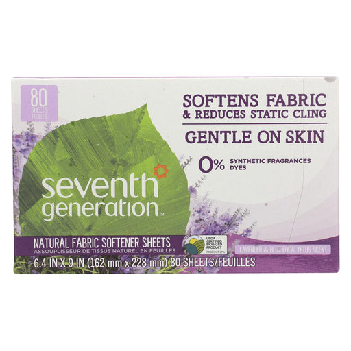 Seventh Generation Natural Fabric Softener Sheets - Blue Eucalyptus And Lavender - Case Of 12 - 80 Count