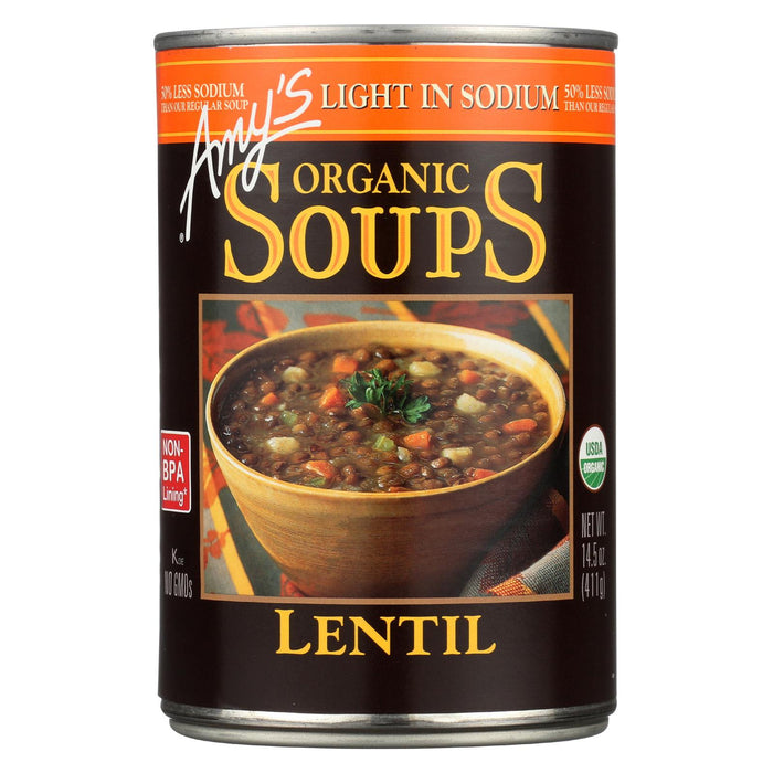 Amy's Organic Low Sodium Lentil Soup - Case Of 12 - 14.5 Oz