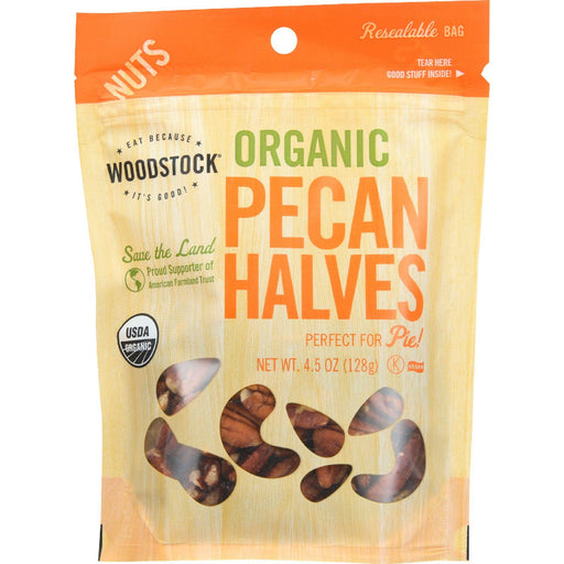 Woodstock Organic Pecan - Halves - Case Of 8 - 4.5 Oz.