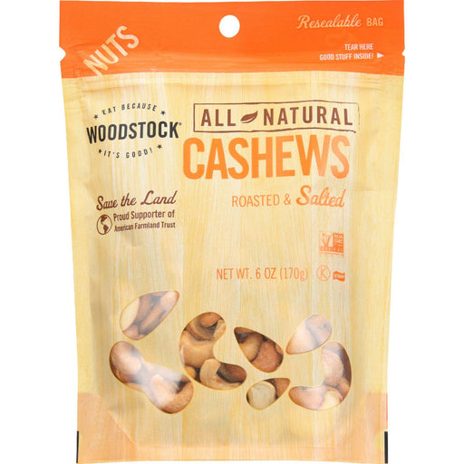 Woodstock Cashews - Roasted - Salted - Case Of 8 - 6 Oz.