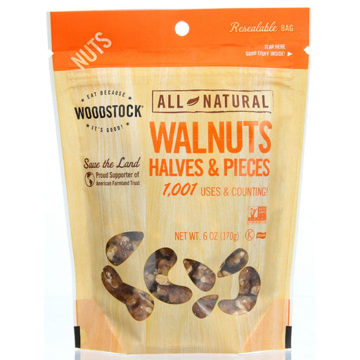 Woodstock Walnuts -  Halves & Pieces - Raw - Case Of 8 - 6 Oz.