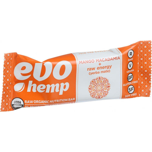 Evo Hemp Organic Hemp Bars - Mango Macadamia Energy - 1.69 Oz Bars - Case Of 12