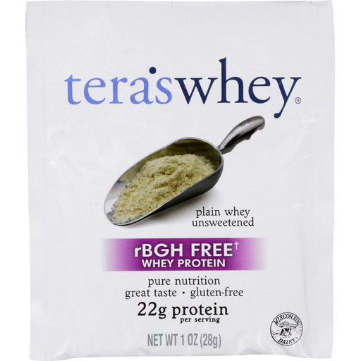 Teras Whey Protein Powder - Whey - Rbgh Free - Plain Unsweetened - 1 Oz - Case Of 12