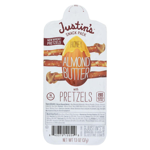 Justin's Nut Butter Almond Butter - Honey With Pretzel - Case Of 6 - 1.3 Oz