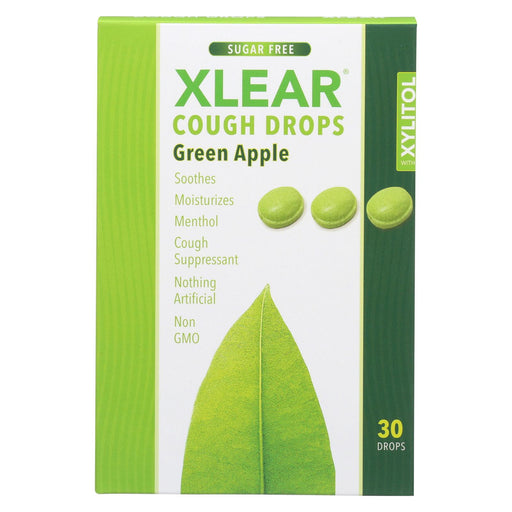 Xlear Throat Drops - Green Apple - Case Of 12 - 30 Count