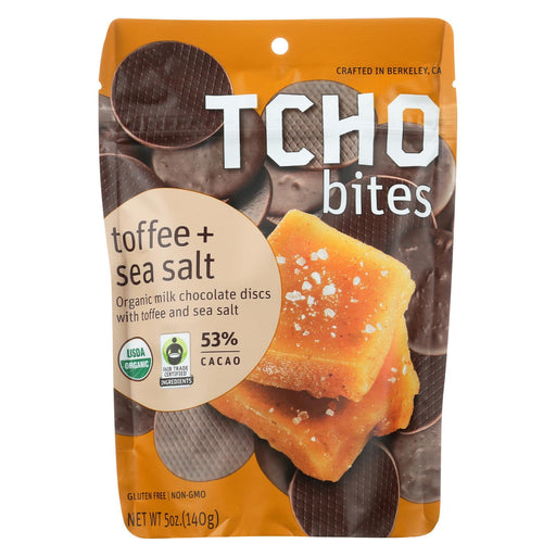 Tcho Chocolate Organic Milk Chocolate Bites - Toffee And Sea Salt - Case Of 12 - 5 Oz