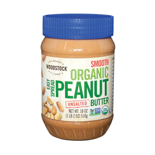 Woodstock Organic Easy Spread Peanut Butter - Smooth - Unsalted -18 Oz.